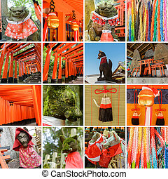 Collection of Fushimi Inari Taisha Shrine scenics, fox...