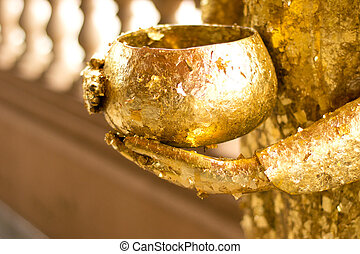 Buddha, estátua, segurando, bowl., ,