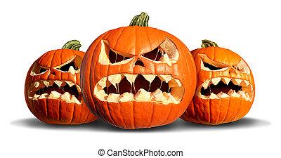 Pumpkin Monster Group - Pumpkin monster group with three...