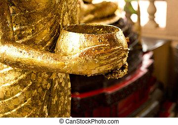 tigela,  Buddha, estátua, segurando