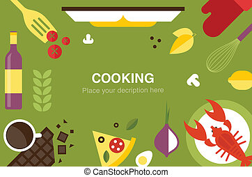 cooking desk header flat icon style vector illustration