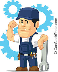 Cartoon of Strong Mechanic Wrench - A vector set of a male...