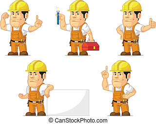 Strong Construction Worker Mascot 5 - A vector set of a male...