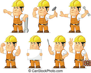 Strong Construction Worker Mascot11 - A vector set of a male...