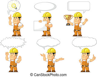 Strong Construction Worker Mascot13 - A vector set of a male...