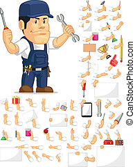 Strong Mechanic Mascot Set - A vector set of a male mechanic...