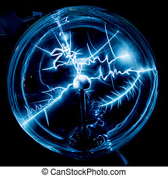 Electricity in a plasma ball as high voltage lightning