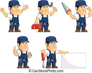 Strong Mechanic Mascot11 - A vector set of a male mechanic...