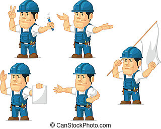 Strong Technician Mascot 9 - A vector set of a male...
