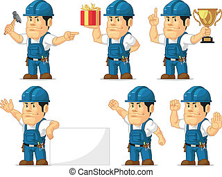 Strong Technician Mascot10 - A vector set of a male...