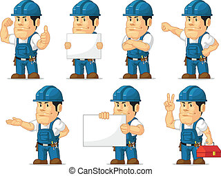 Strong Technician Mascot11 - A vector set of a male...