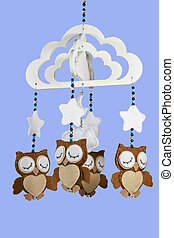 Four Felt Owls on Beaded Baby Cot Mobile - four felt owls on...