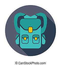 Rucksack. Single flat color icon. Vector illustration.
