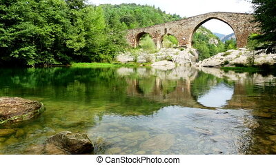 Medieval arched bridge over Llobregat river in the Pyrenees
