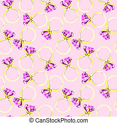 Diamond ring background. seamless pattern of rings with...