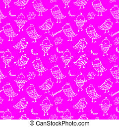 Cute colorful floral seamless pattern with owl and bird....