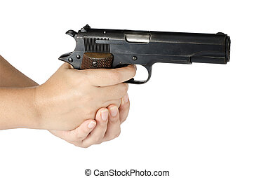 Womans hand with gun isolate on white background