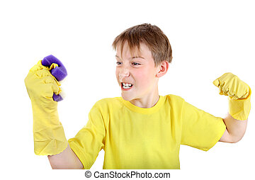 Kid with Bath Sponge - Angry Kid with Bath Sponge and Rubber...
