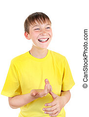 Cheerful Kid Isolated on the White Background