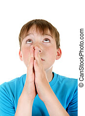 Kid Praying - Focus on the Hands. Kid praying Isolated on...
