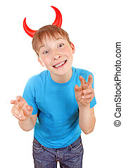 Kid with Devil Horns - Sly Kid with Devil Horns on the Head...