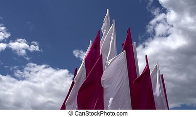 White and Purple Banners - White and purple flags fluttered...