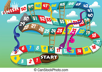 Snakes and ladders game - A vector illustration of snakes...