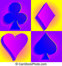 Card suit. - Hearts, diamonds, spades and clubs. vector...