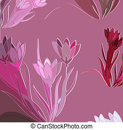 Floral Background With Blooming Lilies, Vector Illustration