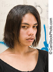 Androgynous emo teen portrait - Portrait of an effeminate...