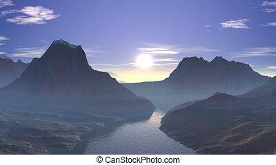 Sunrise over the mountain lake