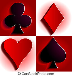 Card suit - Hearts, diamonds, spades and clubs vector...
