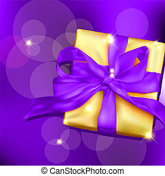 Gift box with ribbon and bow Vector illustration