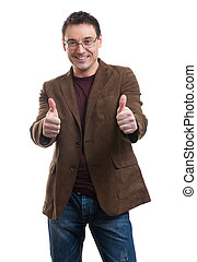 Young handsome man smiling and showing thumbs up - Young...