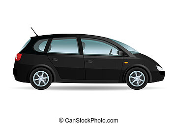 Black Minivan - Vector illustration of a minivan, family...