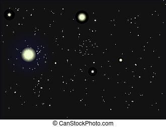 Night sky with stars and nebula. vector illustration