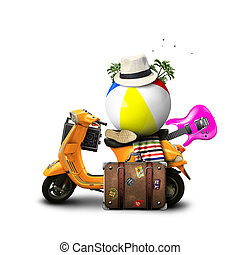 Holidays, orange scooter with a ball and a suitcase