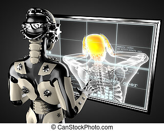 robot woman manipulating hologram displey - cyborg woman...