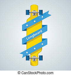 Ad layout for longboard with blue ribbon - Flat vector...