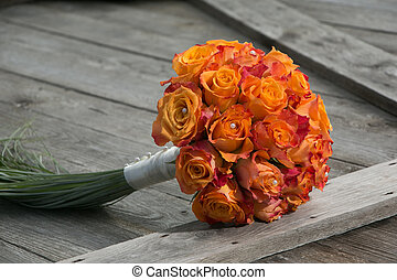 bridal bouquet - Wedding bridal bouquet with bright orange...