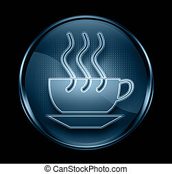coffee cup icon dark blue, isolated on black background.
