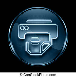 printer icon dark blue, isolated on black background