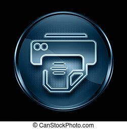 stampante, icona, scuro, blu, isolato, nero, fondo