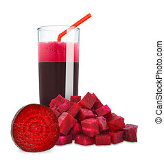 beetroot juice in a glass on a white background