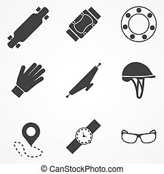 Vector icons for accessories for longboarders - Set of black...