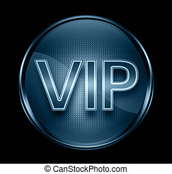 VIP icon dark blue, isolated on black background