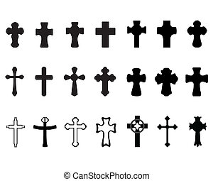 crosses - Black silhouettes of different crosses, vector
