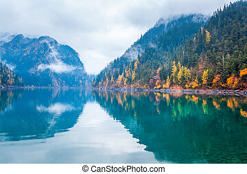 beautiful long lake in autumn jiuzhaigou valley national...