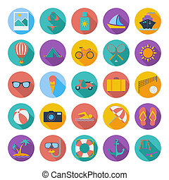 Summer Icons - Summer flat color icons whit long shadow...
