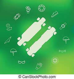 Vector icons for longboard and accessories - Silhouette...